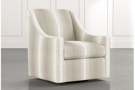 Emerson II Natural Striped Swivel Accent Chair
