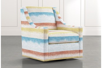 Emerson II Striped Swivel Accent Chair