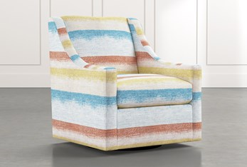 Emerson II Striped Swivel Accent Chair