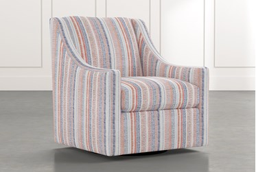 Emerson II Red Striped Swivel Accent Chair
