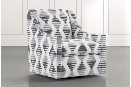 Emerson II Grey Geometric Swivel Accent Chair