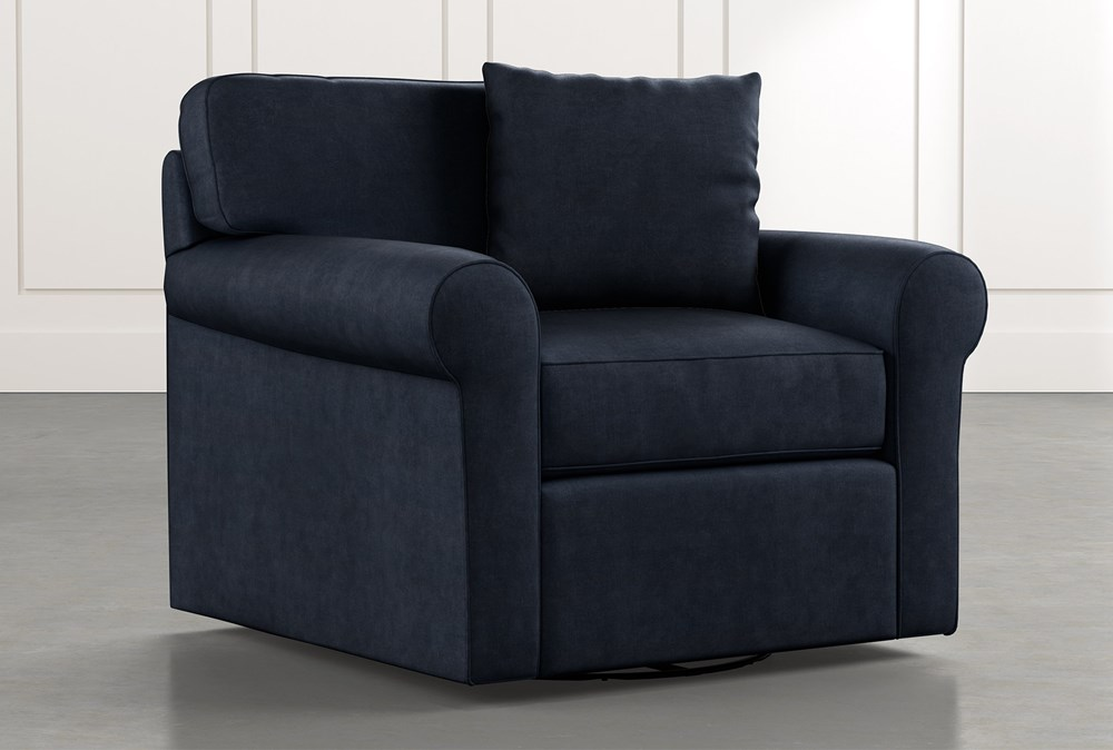 Elm II Navy Blue Swivel Arm Chair