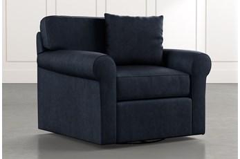 Elm II Navy Blue Swivel Arm Chair