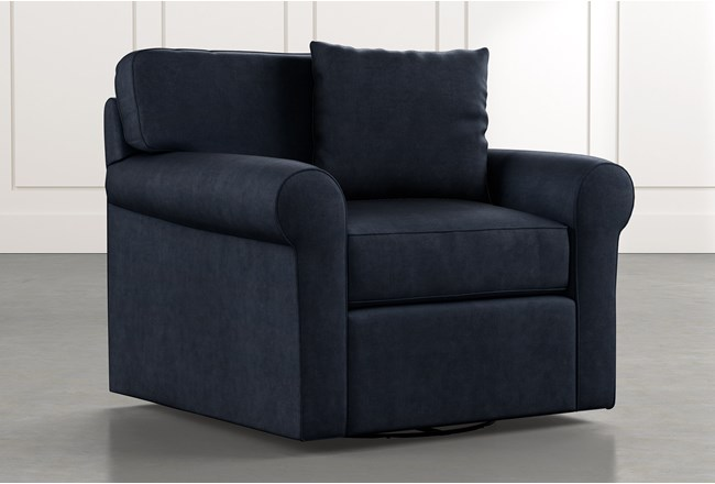 Elm II Navy Blue Swivel Arm Chair - 360