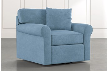 Elm II Light Blue Swivel Arm Chair
