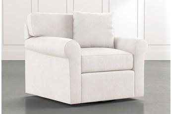 Elm II White Swivel Arm Chair