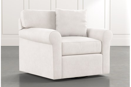 Elm II White Swivel Arm Chair