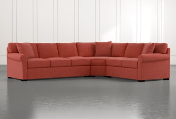 Elm II Red 3 Piece Sectional