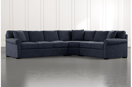 Elm II Navy Blue 3 Piece Sectional
