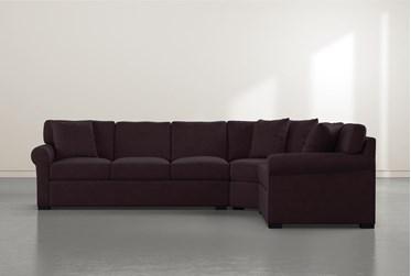 "Elm II Purple Foam 3 Piece 127"" Sectional with Left Arm Facing Sofa"