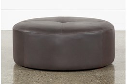 Elm II Round Leather Ottoman