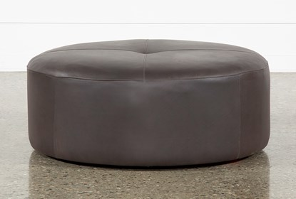 Admirable Elm Ii Round Leather Ottoman Gmtry Best Dining Table And Chair Ideas Images Gmtryco
