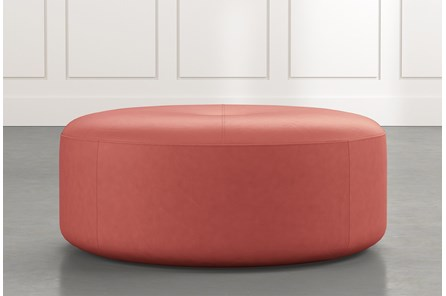 Elm II Red Round Leather Ottoman