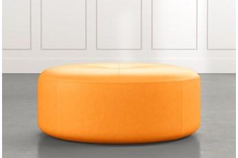 Elm II Orange Round Leather Ottoman