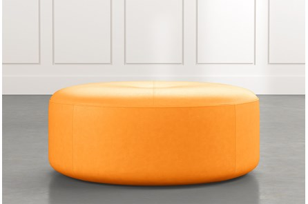 Elm II Orange Round Leather Ottoman