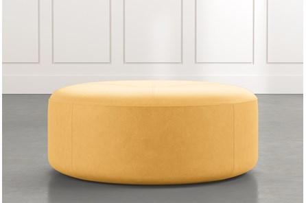 Elm II Yellow Round Leather Ottoman