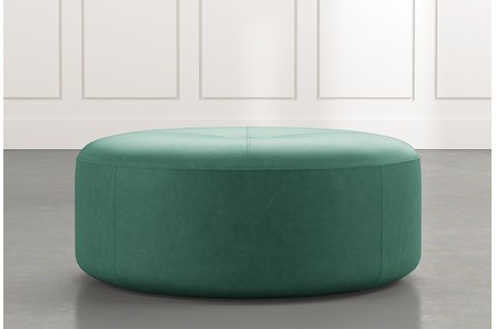 Elm II Dark Green Round Leather Ottoman