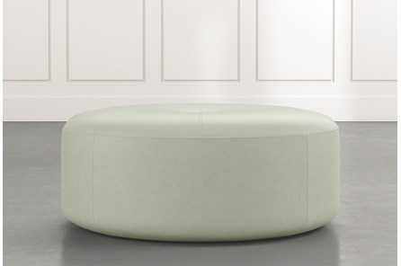 Elm II Light Green Round Leather Ottoman