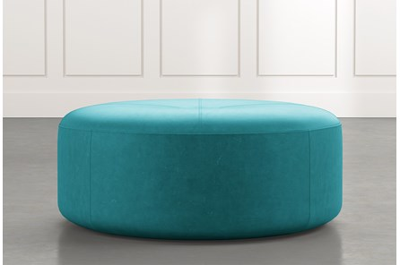 Elm II Teal Round Leather Ottoman