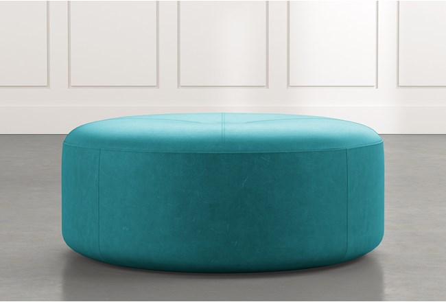 Elm Ii Teal Round Leather Ottoman Living Spaces
