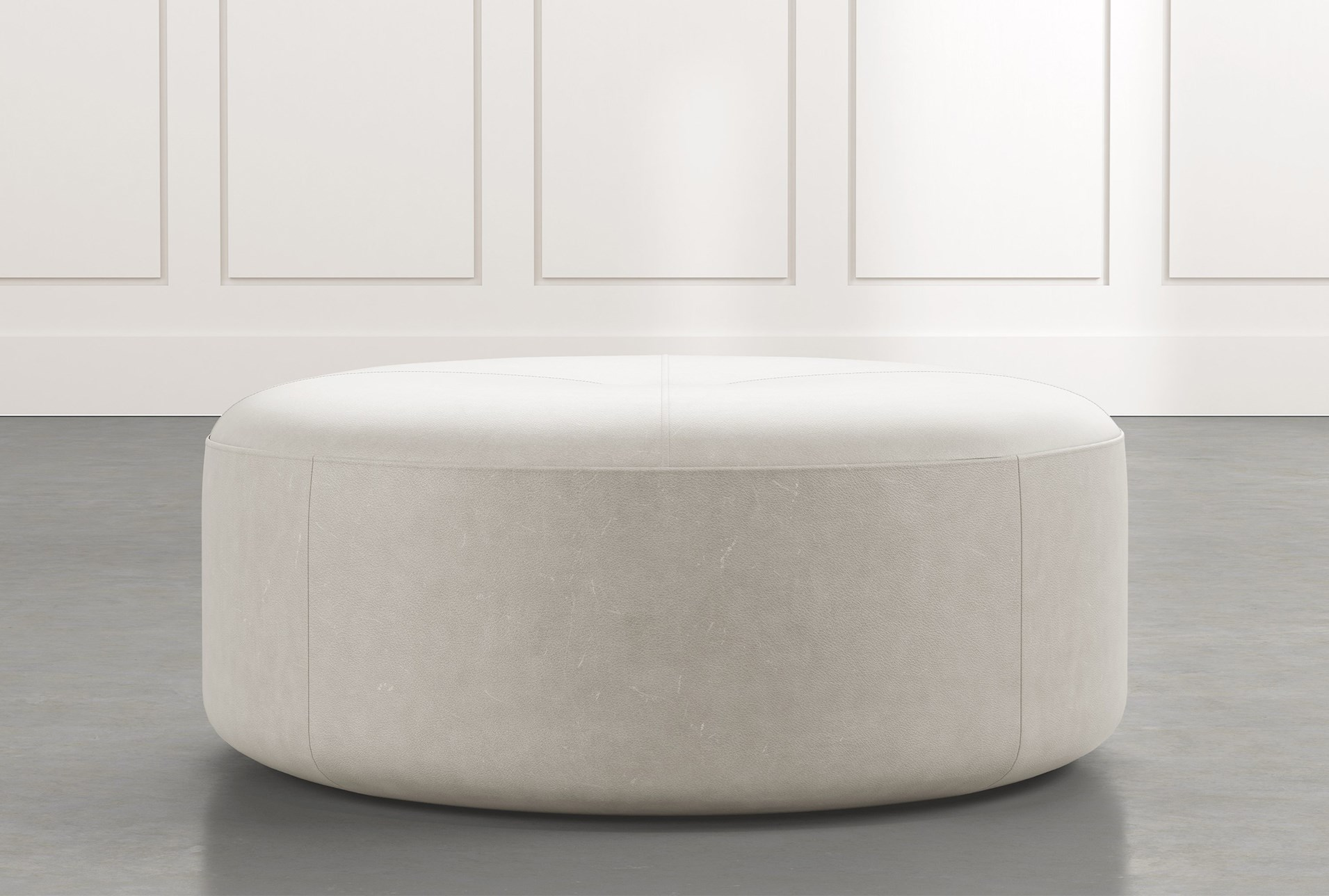 Elm Ii Light Grey Round Leather Ottoman