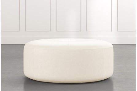 Elm II White Round Leather Ottoman