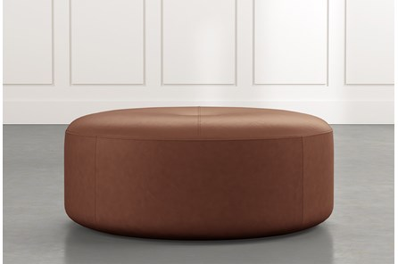 Elm II Dark Brown Round Leather Ottoman