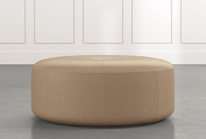 Elm Ii Light Brown Round Leather Ottoman Living Spaces