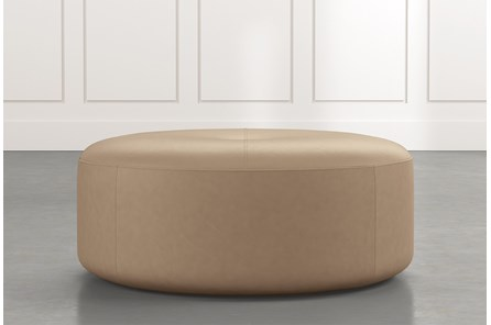Elm II Light Brown Round Leather Ottoman