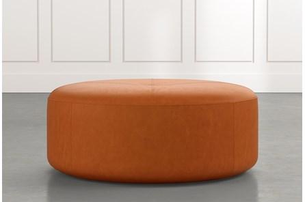 Elm II Tan Round Leather Ottoman