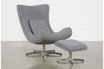 Anne II Grey Chair and Ottoman