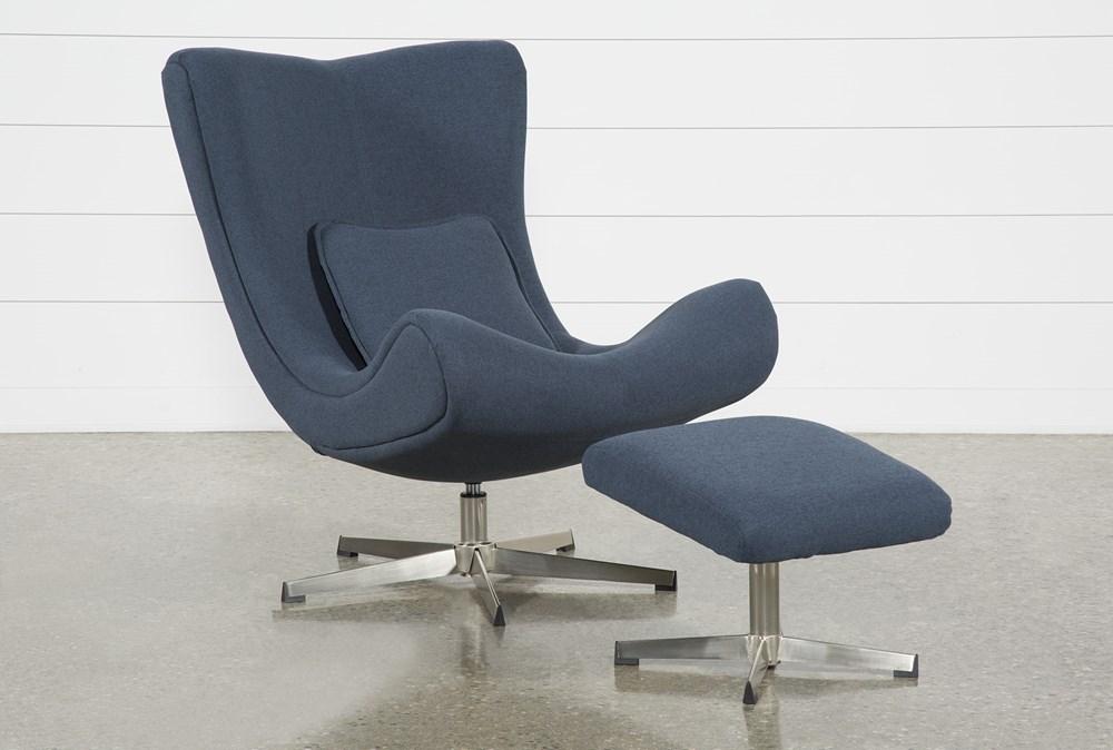 Anne II Blue Chair and Ottoman