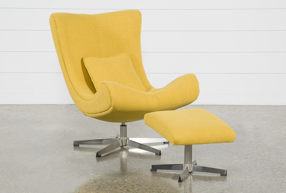 Anne II Yellow Chair and Ottoman