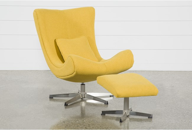 Anne II Yellow Chair and Ottoman - 360