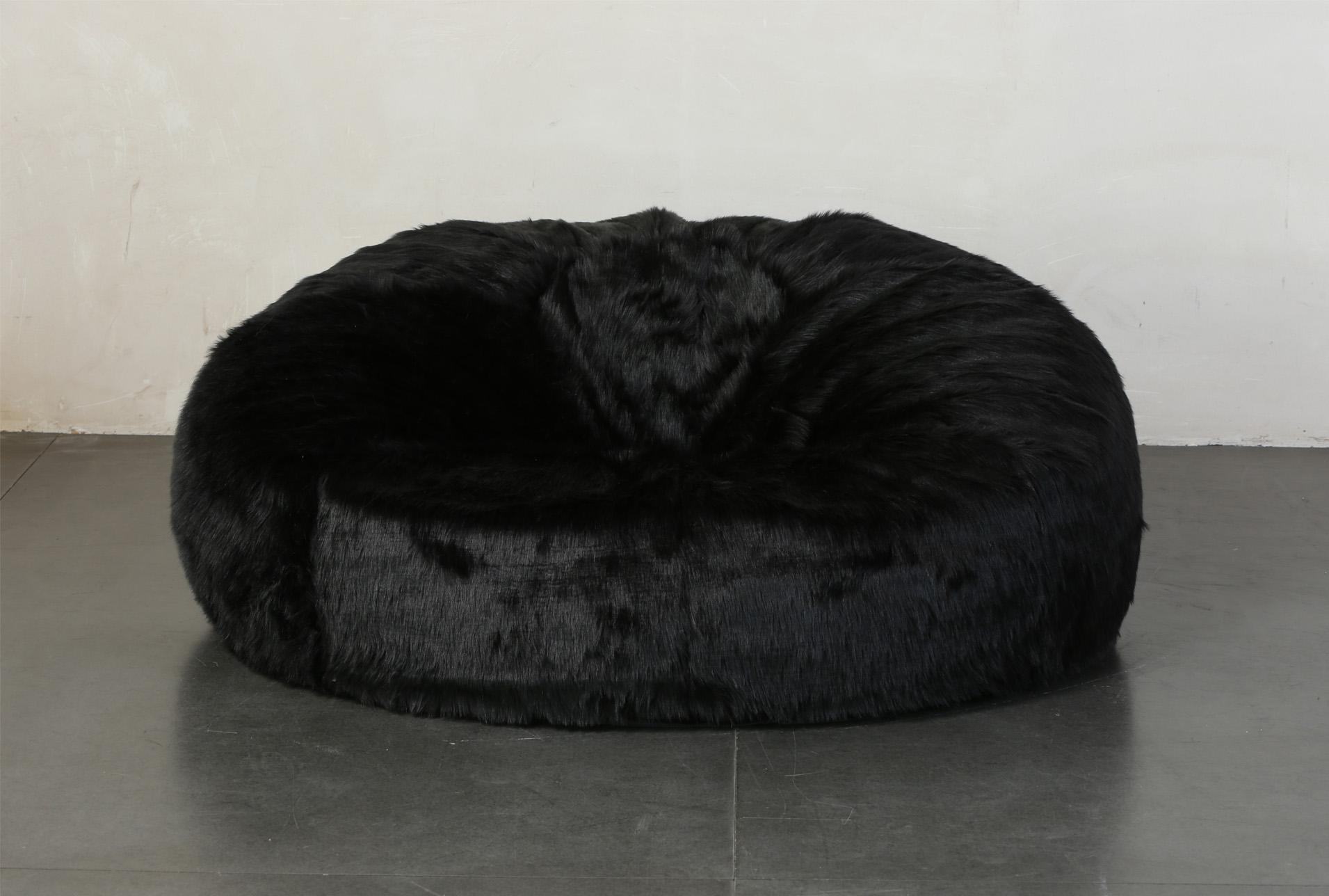 Xl Bean Bag Faux Fur Black