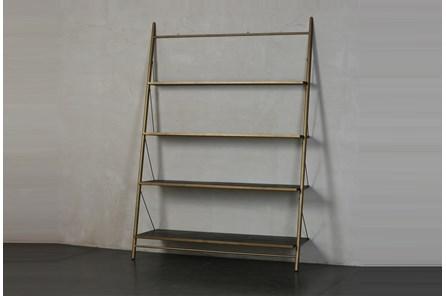 Brass + Black Four Shelf Bookcase