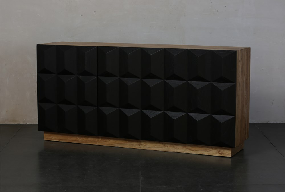 """Natural Wood 75"""" Sideboard With Black Faceted Doors"""
