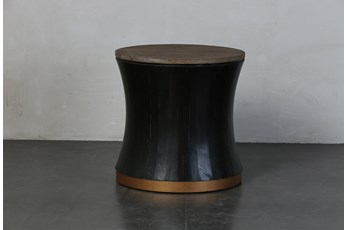 Round Black + Brass Drum End Table