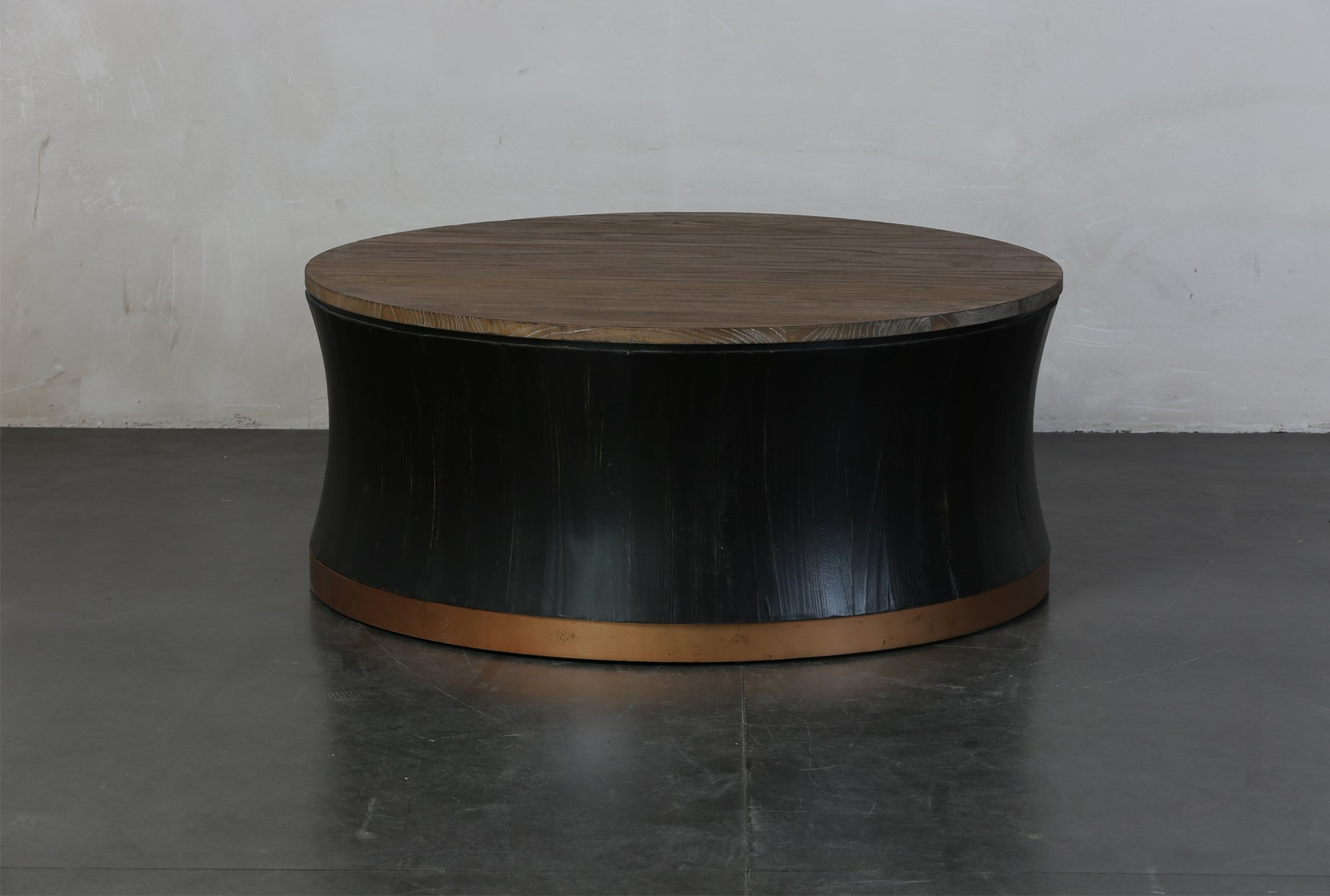 Round Black Brass Drum Coffee Table Living Spaces