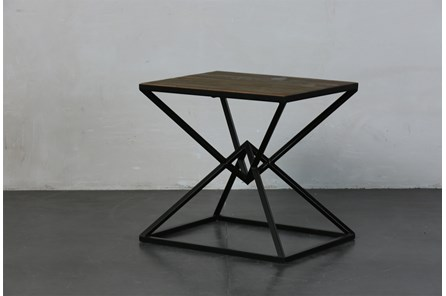 Black + Natural Inverted Triangle End Table