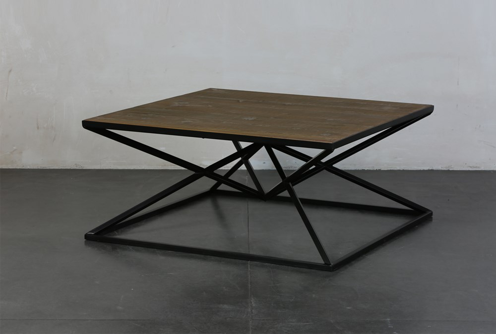 Black and Natural Inverted Triangle Coffee Table