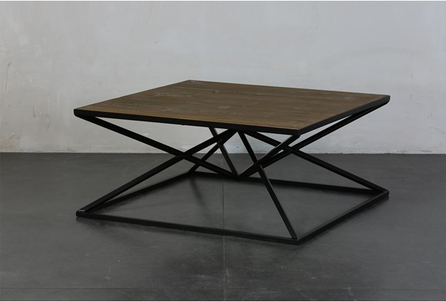 Black and Natural Inverted Triangle Coffee Table - 360