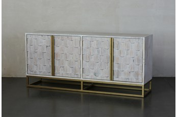 """Faceted 4 Door White Wash 70"""" Sideboard"""