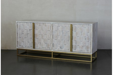 Faceted 4 Door White Wash Sideboard