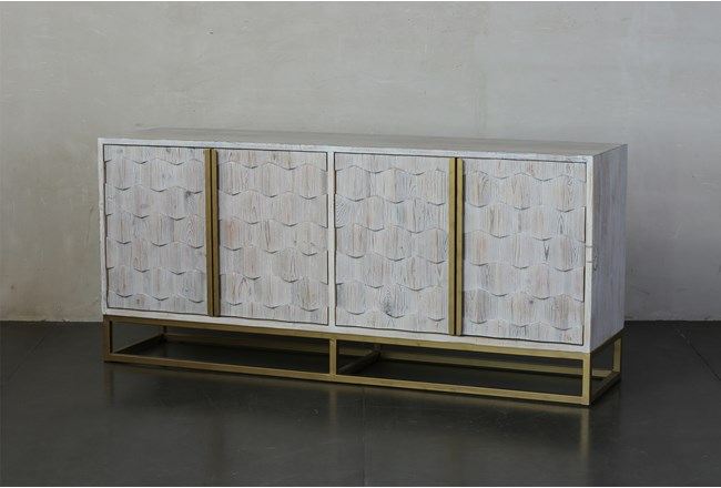 Faceted 4 Door White Wash Sideboard  - 360