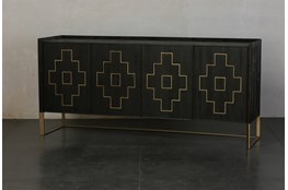 Lattice Inlay 4 Door Sideboard