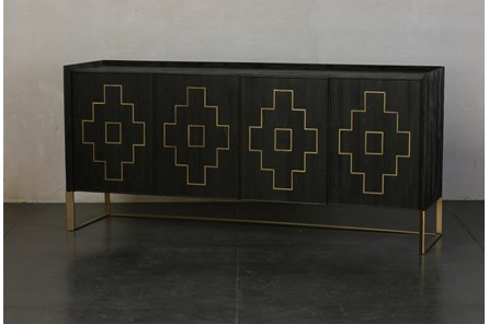 Lattice Inlay 4 Door Sideboard