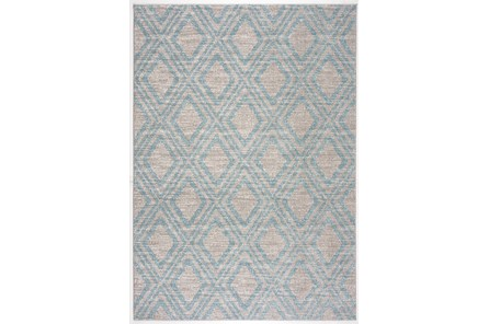 63X90 Rug-Vintage Diamond Blue And Taupe