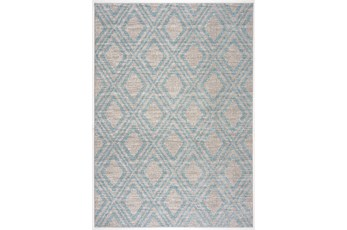 85X126 Rug-Vintage Diamond Blue And Taupe