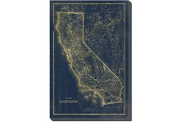 24X36 Ca Map Navy And Gold